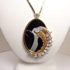 Eryte Onyx Mother of Pearl diamond necklace